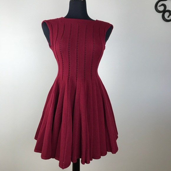 7e12cab7 Alaia Dresses & Skirts - AZZEDINE ALAIA Fit & Flare Skater Dress Burgundy